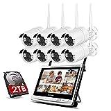 SSCJ Sistema di telecamere di Sicurezza Wireless all-in-1 con Monitor LCD da 12', Kit DVR di sorveglianza WiFi con telecamere IP CCTV da 8PCS 2.0MP, rilevamento del Movimento del Disco Rigido da 2TB