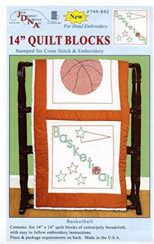 Jack Dempsey Prägung weiß Themed Quilt Blocks, Basketball (Pack von 6) (Quilten Batting Polyester)