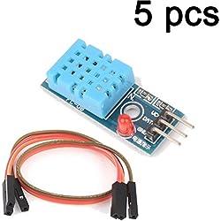Gaoxing Tech. 5pcs DHT11 temperatura y módulo de sensor de humedad relativa para arduino