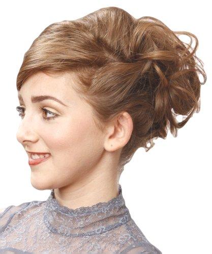 Elastico per capelli rivestito con extension a ciocche ricce per creare chignon alto o basso riflessi castani su biondo fragola miele