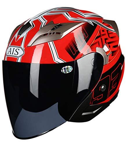 YOJDTD Casco da equitazione equipaggiamento protettivo casco da equitazione casco da moto casco, ragno rosso con nebbia nera_L