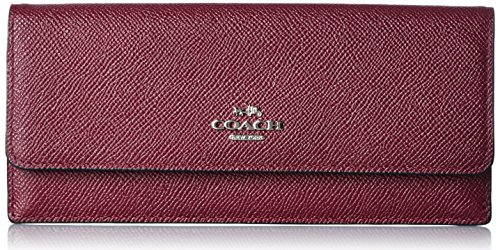 wallets-coach-women-leather-burgundy-and-silver-52331svbu-red-25x9x20-cm