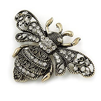 Avalaya Vintage Inspired Crystal Bumble Bee Brooch In Aged Gold Tone - 60mm 1