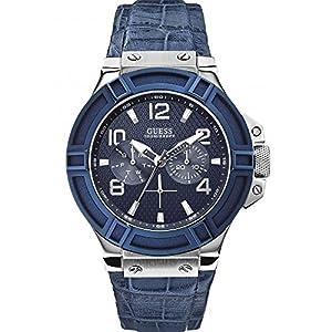 Guess W0040G7 - Reloj de cuarzo para hombre, correa de cuero color azul de Guess