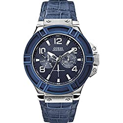 Guess Men's Quartz Watch with Black Dial Analogue Display and Blue Leather Bracelet W0040G7