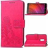 Hülle für Xiaomi Redmi Note 4, Owbb Prägung Klee Blumen Muster Handyhülle PU Ledertasche Flip Cover Wallet Case mit Stand Function Innenschlitzen Design Rose Red(Ein freier Stylus als Geschenk)