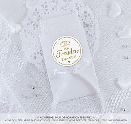 SET GROß: 48 Freudentränen Sticker + 48 weiße Flachbeutel - 63 x 93 mm für Freudentränen Taschentuch Verpackungen • Aufkleber mit Hochzeitsringe • 4cm, rund, matt