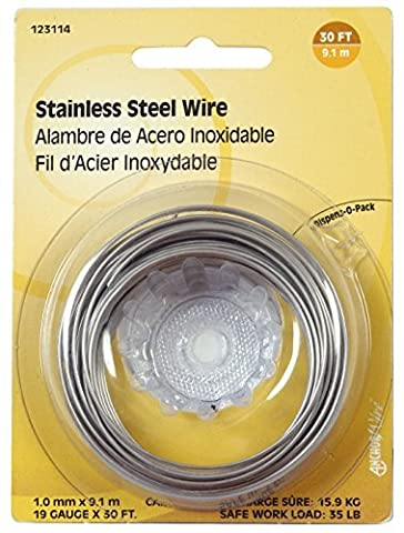 The Hillman Group 123114 19-Gauge Stainless Steel Wire 30-Feet Display Package, 1-Pack by The Hillman Group
