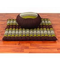 Leewadee Set de Meditación Cojín Zafu, Colchoneta Zabuton, 76x72x25 cm, Capok, Marrón Verde