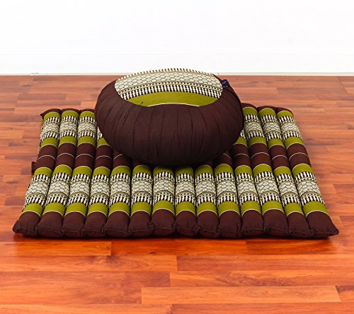 Leewadee Set de Meditación Cojín Zafu, Colchoneta Zabuton, Capok, marrón Verde