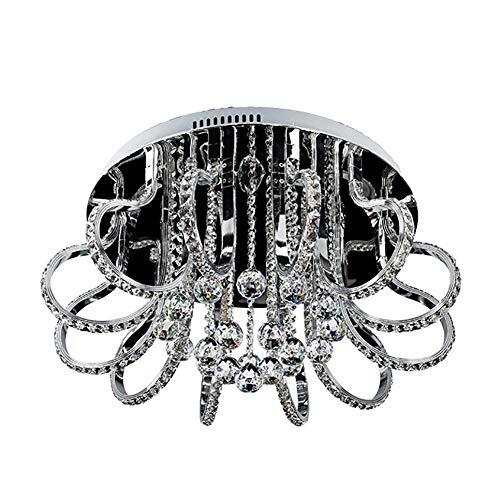 BERGHT 120W LED Lampada da soffitto Moderna soffitto Lampada Cristallo miscelazione Cromo Metallo Paralume Soggiorno Luce Indoor Luce all'aperto 60CM Diametro Lampadario Lampadario