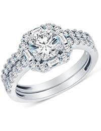 Sólido 14 K oro blanco alta calidad CZ cúbico zirconia Halo de novia anillo de compromiso