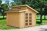 Gartenhaus Fagus F29 inkl. Fußboden, naturbelassen - 28 mm Blockbohlenhaus, Grundfläche: 8,70 m², Pultdach