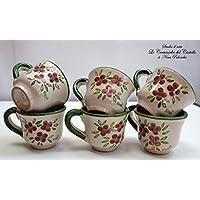 6 Tazzine da caffè Linea Fiori Misti Bordo Verde Ceramica Handmade Le Ceramiche del Castello Made in Italy Dimensioni H 5,20 x L 8,30 cm. cadauna