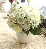Sisthirth Flores Artificiales, Flores Falsas Flores de Seda Boda plástica 10 Cabezas Ramos de Rosas Arreglo Floral para la decoración del hogar Centros de Mesa Decoración (Blanco)