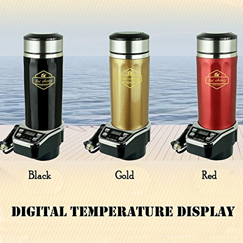 TAICHENG Car Electric Kettle Boiling DC 12V Cigarette Lighter Heating Cup Vacuum Insulated Stainless Steel Digital Temperature Display-Gold