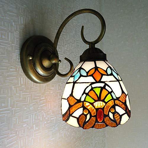 YAOUCWL Muster Retro Schlafzimmer Kinderzimmer Nachttischlampe Wandlampe Spiegelscheinwerfer Ohne Lichtquelle Beige