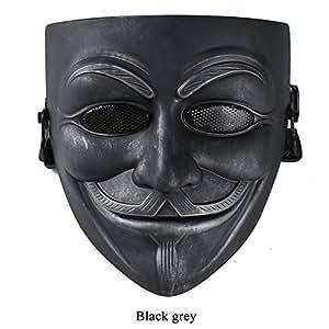 Vendetta Maske Full Face Guy Fawkes Mask for Halloween Karneval Cosplay Black