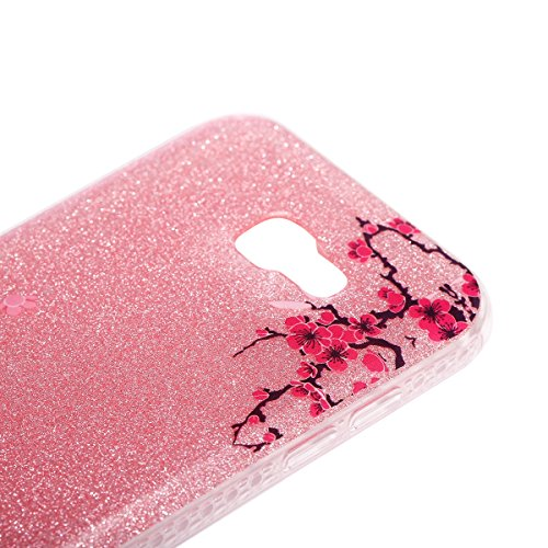 FESELE Silikon Schutzhülle für [Samsung Galaxy A7 2017] Glitzer Luxus Kristall Rahmen Silikon Dünn Tasche Handy Cover Schutzhülle, Samsung Galaxy A7 2017 Bunt Malerei Silber Glitzer Durchsichtig Cryst Rosa Pfirsich Blume