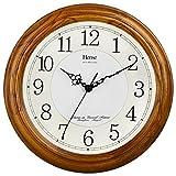 HENSE 13 Zoll große massive Platane Holz Wanduhr Wohnzimmer Moderne Uhr Stumm Einfache Quarzuhr mit großen arabischen Ziffern und feine Textur HW13 (HW13 #C Hellbraun)