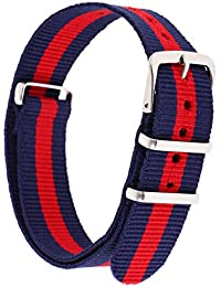 NF&E Durable Nylon Watch Band Strap 18Mm/24.5Cm Blue Red