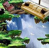 Yosot Cliff Wasserfälle 3D Bodenbelag Benutzerdefinierte Wohnzimmer Selbstklebende Dekoration Badezimmer Wandbild Fototapete-200Cmx140Cm