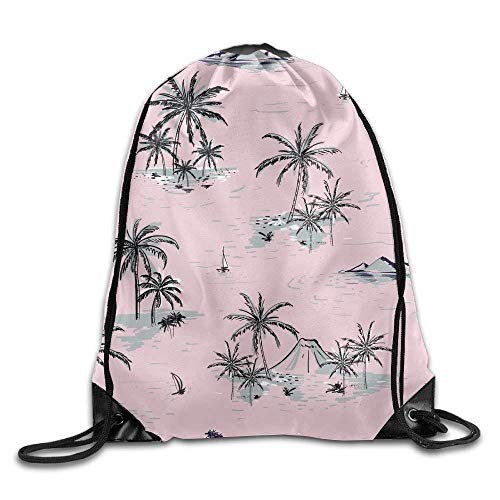 FTKLSS Lightweight Foldable Large Capacity Drawstring Backpack Gym Bag Travel Backpack, Tropical Plants Beach Style, Best Gym Backpacks for Teen Kids