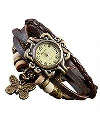 SODIAL(R) Cafe Vintage Bronce Reloj de cuarzo pulsera brazalete del cuero de envoltura tejido de senora mujer