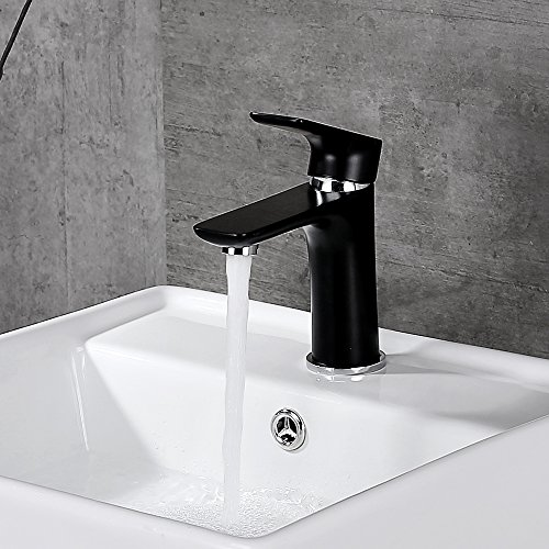 Preisvergleich Produktbild Homelody schwarz Wasserhahn Waschbecken Armatur Waschtischarmatur Mischbatterie Bad Waschtischmischer Badarmatur