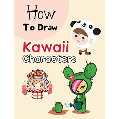 dia del libro kawaii How To Draw Kawaii Characters: Drawing for Kids: Cartooning for Kids and Learning How to Draw Cute Kawaii Animals and Characters