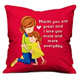indibni I Love You Mom Cushion (12x12 inch) with Filler - Pink (Adorable Elegant Digital Print Best Gift for Mummy Mom Mother Home Decor)