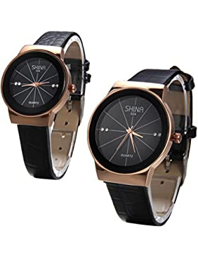 JewelryWe 2pcs Herren Damen Armbanduhr, Analog Quarz Wasserdicht, Fashion Einzigartig Elegant Schwarz Leder Armband...