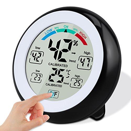Solocil Digitales Thermo Hygrometer Thermometer, Digitales Monitor Temperatur und Luftfeuchtigkeit mit Min/Max Records, LCD Display für Schlafzimmer, Büro, Wohnzimmer (Hohe Temperatur Lcd)
