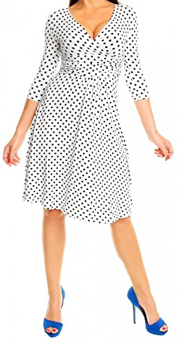 Glamour Empire Donna Vestito svasato a pois abito in jersey molto femminile 017 Bianco con puntini