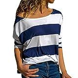 Manadlian-T Shirt Femmes Casual Tops, Mode Haut Rayé LâChe Haut à Manches Longues...