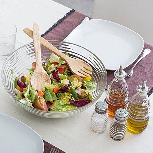Excellent Houseware K329769 5-teiliges Salat Set mit Schüsse, Salatbesteck, Streuer und Karaffe, Glas, transparent, 30 x 30 x 10 cm