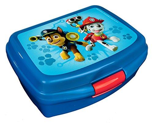 Scooli PPUT9901 - Brotzeitdose aus Kunststoff mit Clip, leicht zu öffnen und zu schließen, BPA und Phthalat frei, Paw Patrol mit Chase und Marshall, ca. 13 x 17 x 6 cm