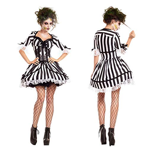 Up Kostüm Weibliche Dress - KODH Neue Halloween Dress up kostüm weiblichen Geist dämon Cosplay Rock Horror Zombie kostüm Nachtclub Party cos kostüm (Color : Black, Size : L)