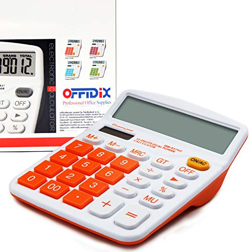 OFFIDIX Office Calculatrice de bureau Solaire et Batterie Calculatrice Électronique à Double Puissance Portable 12 Chiffres Grand Écran LCD Calculatrice Orange