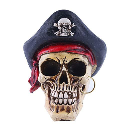 ZHZX Piraten Schädel Dekoration, handgefertigte Kunstharz Skulptur, Fotografie Requisiten, Anti verblassen und langlebig, für zu Hause Halloween Ornament (Bedeutet Halloween Den Tod)