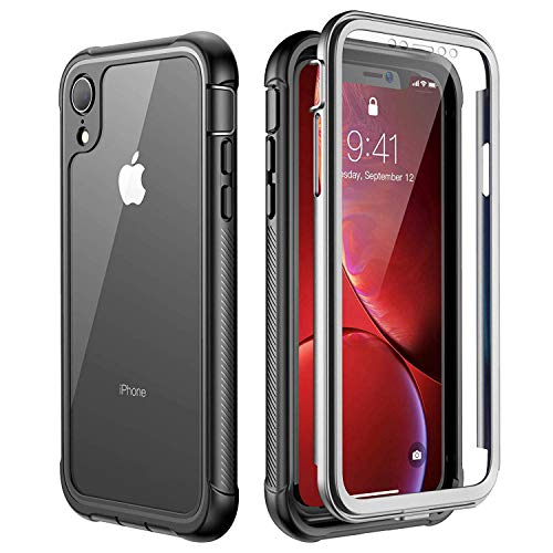 Temdan iPhone Xr Hülle, Stoßfest Transparent Hülle 360 Rundumschutz mit Eingebautem Displayschutz Robust Bumper Handyhülle Schutzhülle für Apple iPhone Xr 6,1 Inch 2018 (Schwarz/Grau+ Klar)