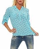 malito more than fashion Malito Damen Bluse mit Blumen Print | Tunika mit ¾ Armen | Blusenshirt IM Vintage Look - Shirt 6709 (Türkis)