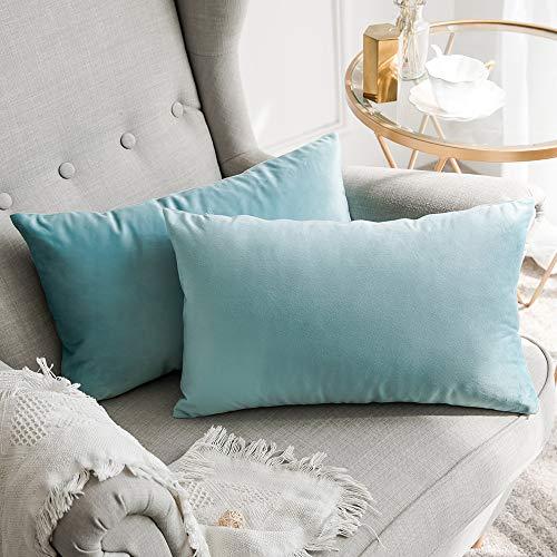 MIULEE 2er Set Samt Kissenbezug Kissenh/ülle Dekorative Dekokissen mit Verstecktem Rei/ßverschluss Sofa Schlafzimmer Auto 12x 12 Inch 30 x 30 cm Orange