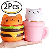 Outee 2 Pack Cat Kitty Squishies Jumbo Slow Rising Squishies Kawaii Cupcake Cat Squishy Hamburger Cat Squishy Cream Scented Kawaii Kitty Squishy Charms Squeeze Toy