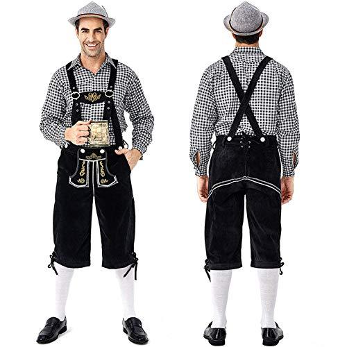 GBYAY M-2XL Traditionelle Herren Oktoberfest Lederhosen mit Hosenträgern Hut Kostüme Set Für Bier Männliches Halloween Cosplay Kostüm