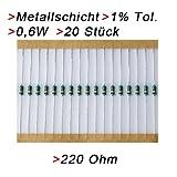Widerstand 220 Ohm, 20 Stück, Metallschicht 0.6W 1% Metallfilm Widerstände
