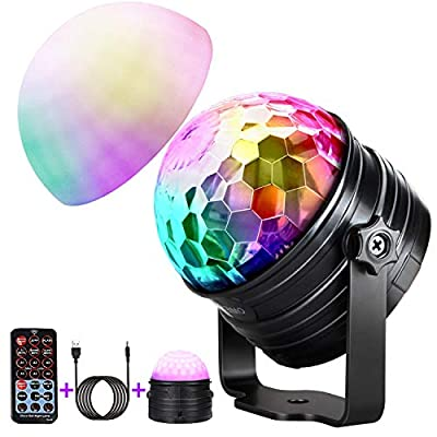 Party Lights DJ Stage Lights Disco Ball Lights Wireless Speaker Lights, 9 Colours Sound Activated Strobe Led Lights, Wireless Connection Powered by USB Charging With Remote Control for Party KTV Club