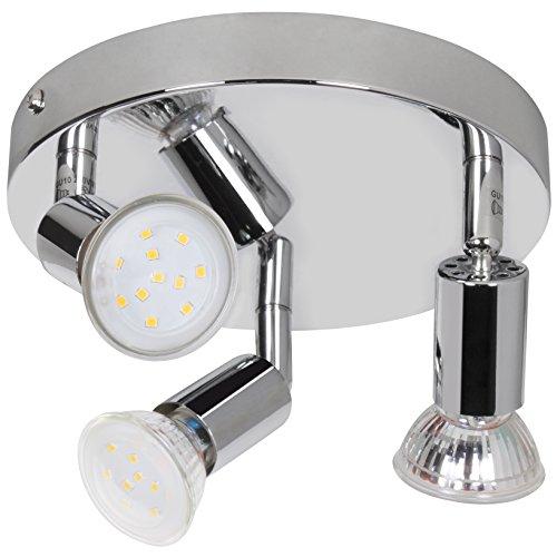 Wohnling 3-flammige LED-Deckenlampe Rondell, inkl. 3x3 Watt Leuchtmittel, Deckenleuchte IP20 Warmweiß Diele Flur GU10 Fassung, LED-Spots Drehbar Wohnzimmer Schlafzimmer Kinderzimmer