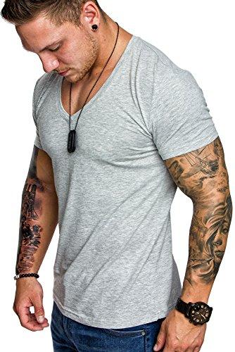 hot sale online 6f67d f7658 Amaci&Sons Oversize Herren Slim-Fit V-Neck Basic T-Shirt V-Ausschnitt 1-0006