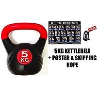 FXR SPORTS 5KG VINYL KETTLEBELL + POSTER & SKIPPING ROPE